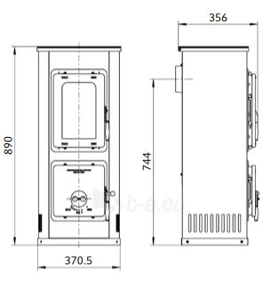 Plieninė krosnelė-židinys Milano II b, baltos spalvos Paveikslėlis 2 iš 3 310820254748