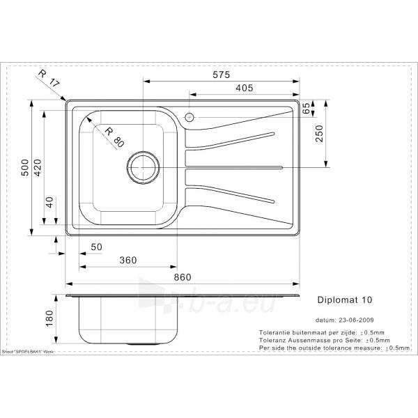 Plieninė plautuvė Reginox Diplomat 10 Eco R Paveikslėlis 2 iš 2 310820253500