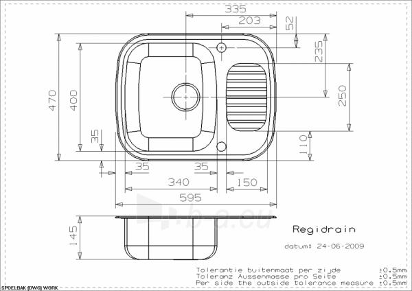 Plieninė plautuvė Reginox Regidrain Paveikslėlis 2 iš 2 310820253501