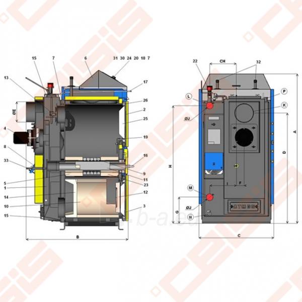 Plieninis dujų generacinis kieto kuro katilas AtmosAC 35 S; 20-35kW Paveikslėlis 2 iš 2 271322000388