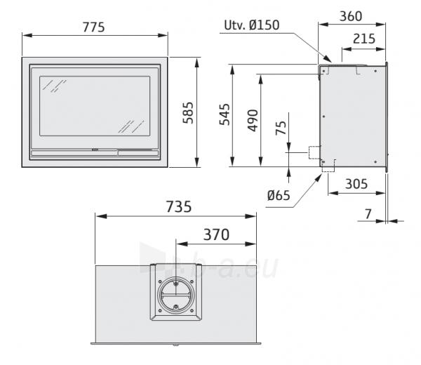 Plieninis Nibe židinio įdėklas Ci7 su stiklinėmis durelėmis (798351) Paveikslėlis 2 iš 2 310820254552