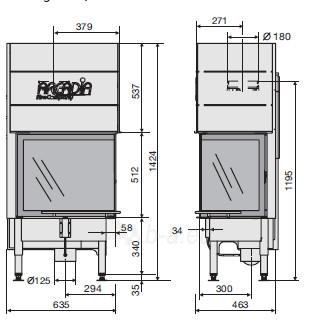 Plieninis židinio ugniakuras Arcadia Vita angolo 58/39, SL pakeliamu kampiniu dešinės pusės stiklu 512 mm Paveikslėlis 2 iš 3 310820176878