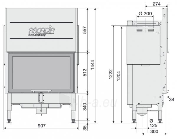 Plieninis židinio ugniakuras Arcadia Vita frontale 80, SL pakeliamu tiesiu stiklu 512 mm Paveikslėlis 2 iš 2 310820165790