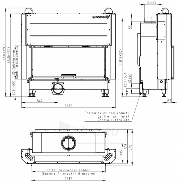 Plieninis židinio ugniakuras KV HEAT H3LG01 110.50.01 su pak. 50x110 cm (Z2ROM-H2LG01)1 Paveikslėlis 2 iš 2 310820165806