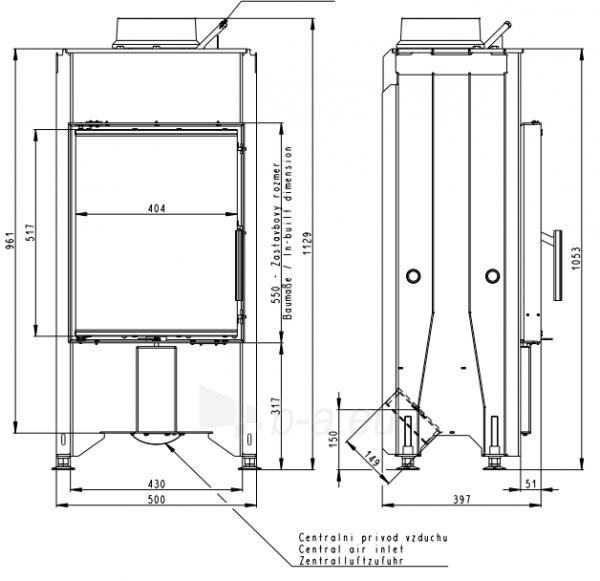 Plieninis židinio ugniakuras Romotop Dynamic DB2K01 35.46.01 su galinėmis durelėmis Paveikslėlis 3 iš 4 310820254468