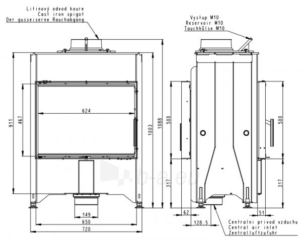 Plieninis židinio ugniakuras Romotop Dynamic DB2M13 66.50.13 su galinėmis durelėmis Paveikslėlis 3 iš 3 310820254469