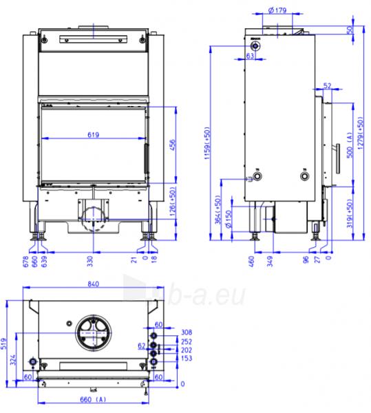 Plieninis židinio ugniakuras Romotop Dynamic DW2M01P 66.50.01P su šilumokaičiu Paveikslėlis 2 iš 2 310820254479