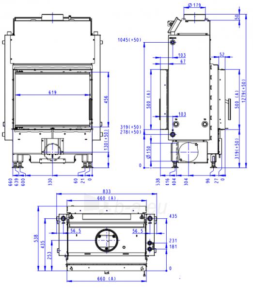 Plieninis židinio ugniakuras Romotop Dynamic DWB2M01 66.50.01 su šilumokaičiu Paveikslėlis 2 iš 2 310820254480