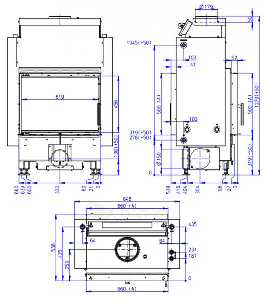 Plieninis židinio ugniakuras Romotop Dynamic DWB2M01P 66.50.01P su šilumokaičiu Paveikslėlis 2 iš 2 310820254481