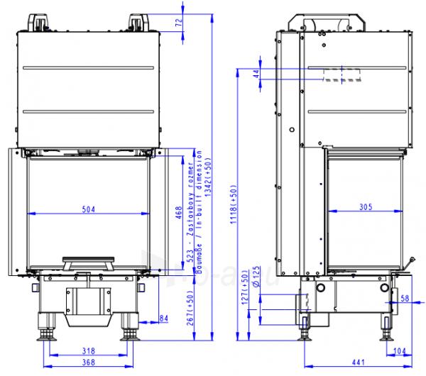 Plieninis židinio ugniakuras Romotop Heat HC3LE21+K1 50.52.31 su montavimo rėmu, trijų stiklų Paveikslėlis 1 iš 3 310820254484
