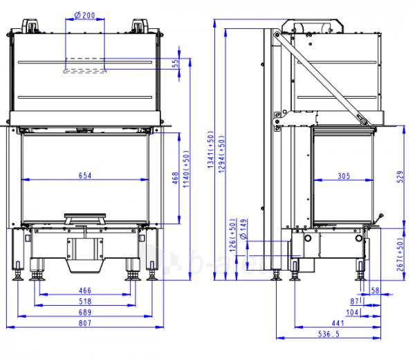 Plieninis židinio ugniakuras Romotop Heat HC3LH01+K1 65.52.31 su montavimo rėmu, lenktas stiklas Paveikslėlis 2 iš 3 310820254485