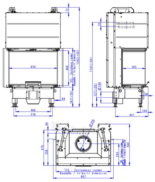 Plieninis židinio ugniakuras Romotop Heat HC3LH21+K1 65.52.31, su montavimo rėmu, stiklas trijų dalių Paveikslėlis 3 iš 3 310820254471