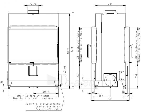 Plieninis židinio ugniakuras Romotop Heat TUNNEL 70.50.01 Paveikslėlis 2 iš 2 310820165818