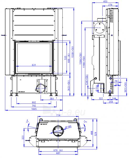 Plieninis židinio ugniakuras Romotop IMPRESSION 2G L 67.60.01 su pakeliamomis durimis Paveikslėlis 3 iš 3 310820254478