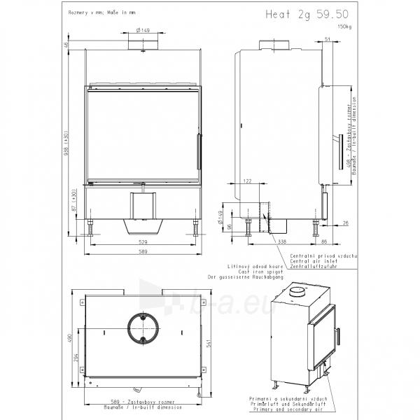 Plieninis židinio ugniakuras Romotop KV HEAT H2N01, stiklo išmatavimai 589x498 mm Paveikslėlis 2 iš 2 310820163778