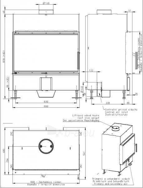 Plieninis židinio ugniakuras Romotop KV HEAT H2P01 70.44.01 (gylis 490mm) Paveikslėlis 2 iš 2 310820163779