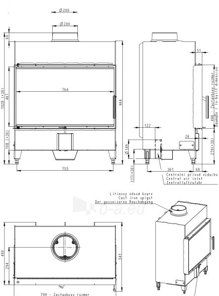 Plieninis židinio ugniakuras Romotop KV HEAT H2X 01 - 80.50 Paveikslėlis 2 iš 2 310820165802