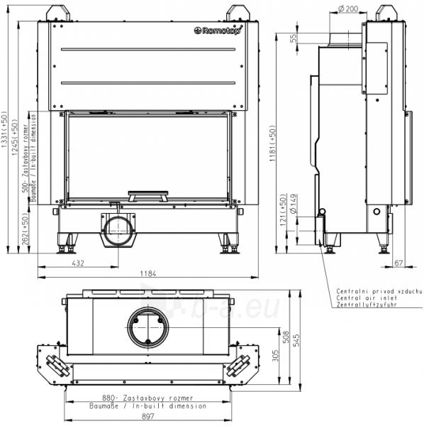 Plieninis židinio ugniakuras Romotop KV HEAT H3LF01 88.50.01 su pakeliamomis durimis. Paveikslėlis 2 iš 2 310820165805