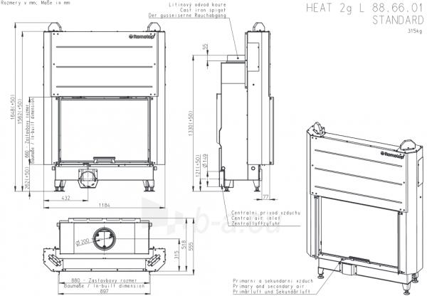 Plieninis židinio ugniakuras Romotop KV HEAT H3LJ01 su pakel. durimis 88.66.01. Durų a-66cm, p-89,7 Paveikslėlis 2 iš 2 310820165807