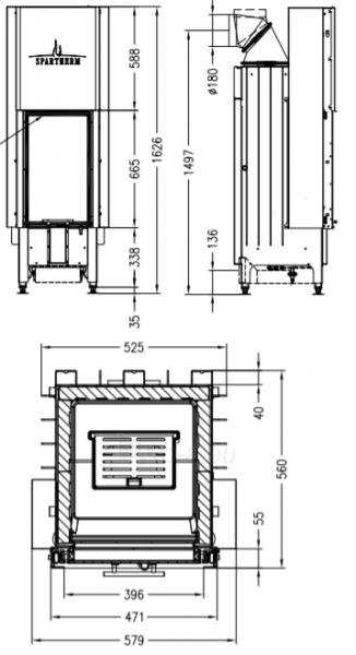 Plieninis židinio ugniakuras Spartherm Arte 1Vh 66 4S - 2, tiesiu, tonuotais kraštais stiklu Paveikslėlis 2 iš 2 310820254555