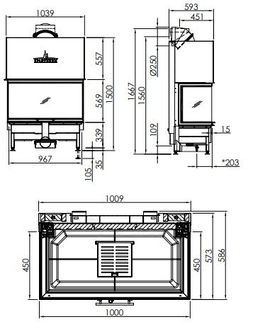 Plieninis židinio ugniakuras Spartherm Arte 3RLh-100h-4S, su tonuotomis stiklo kraštinėmis Paveikslėlis 2 iš 2 310820254442