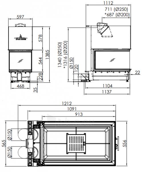 Plieninis židinio ugniakuras Spartherm ARTE U-90h-4S, d.200 Paveikslėlis 2 iš 2 310820254560