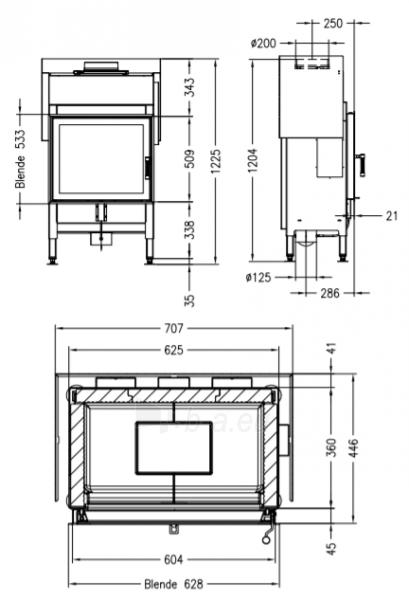 Plieninis židinio ugniakuras Spartherm Global 1V60, 11,5kW Paveikslėlis 2 iš 2 310820254537