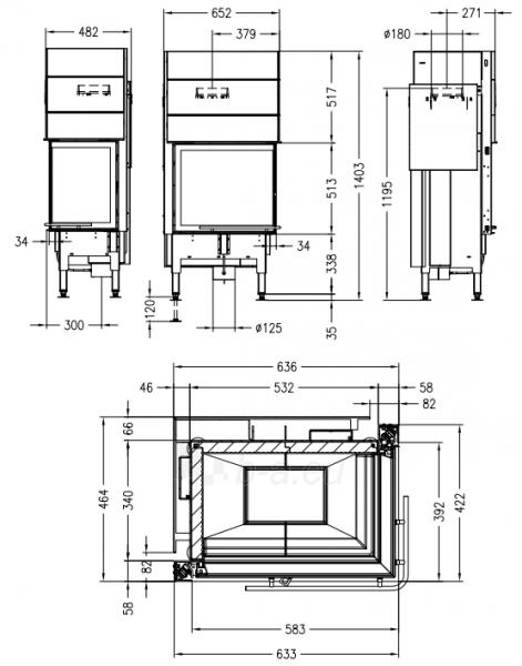 Plieninis židinio ugniakuras Spartherm Global 2Rh 58/39 - 11kW, dešinės pusės pakeliamos durys Paveikslėlis 2 iš 2 310820254453