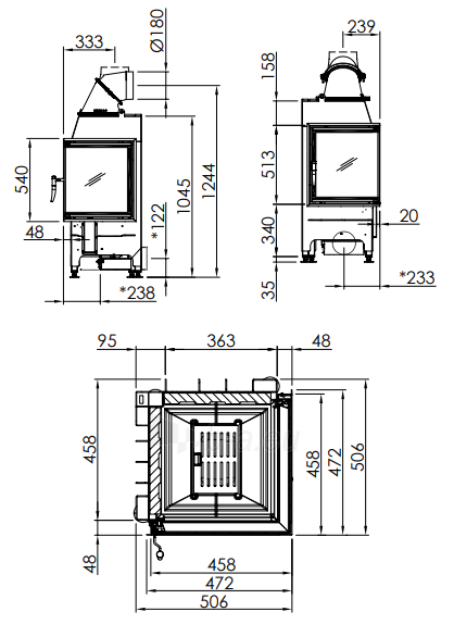 Plieninis židinio ugniakuras Spartherm Mini 2R, dešinės pusės stiklu Paveikslėlis 2 iš 2 310820254543