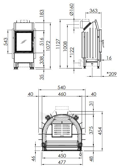 Plieninis židinio ugniakuras Spartherm Mini R1V510-4S, tiesiu stiklu, dešininės durelės Paveikslėlis 2 iš 2 310820254444