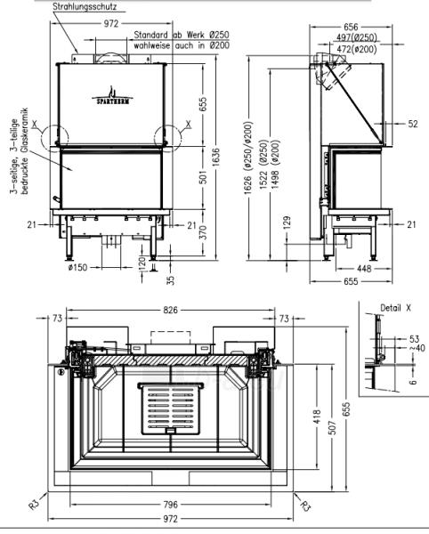 Plieninis židinio ugniakuras Spartherm Premium A-3RL-80h, d.200 Paveikslėlis 2 iš 2 310820254532