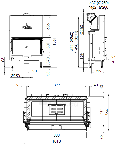 Plieninis židinio ugniakuras Spartherm Premium V-1V-87h, ø200 mm Paveikslėlis 3 iš 3 310820254539