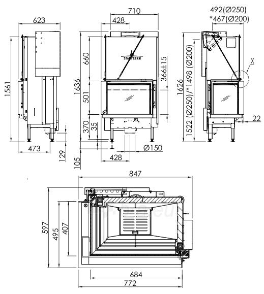 Plieninis židinio ugniakuras Spartherm Premium V-2L-68h, ø200 mm Paveikslėlis 2 iš 4 310820254540