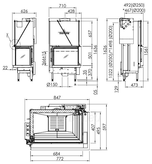 Plieninis židinio ugniakuras Spartherm Premium V-2R-68h, ø200 mm Paveikslėlis 2 iš 2 310820254541