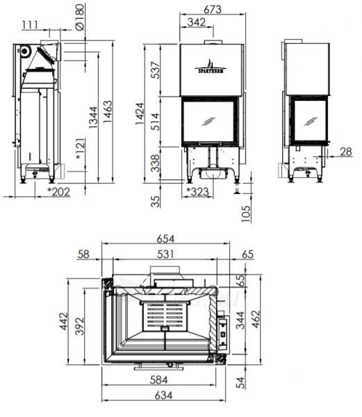 Plieninis židinio ugniakuras Spartherm Varia 2L-55h-4S, tiesiu kampiniu (kairės p.) st. Paveikslėlis 3 iš 3 310820254557