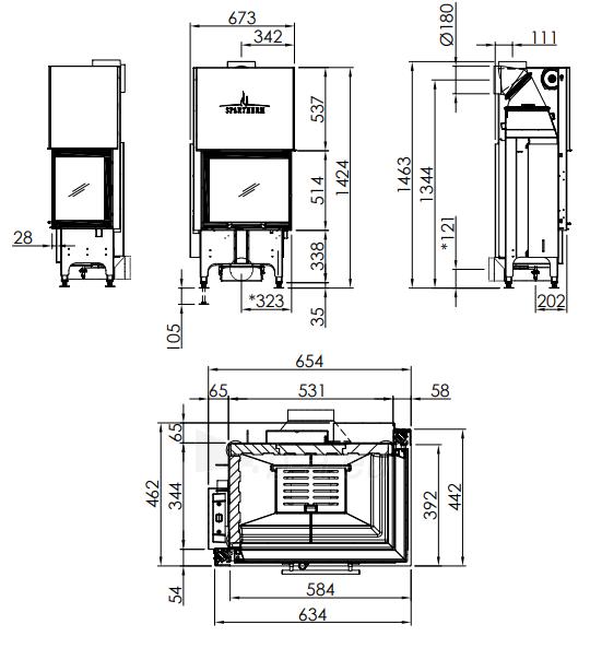 Plieninis židinio ugniakuras Spartherm Varia 2R-55h-4S, tiesiu kampiniu (dešines p.) st., tonuotomis stiklo kraštinemis Paveikslėlis 2 iš 2 310820254446