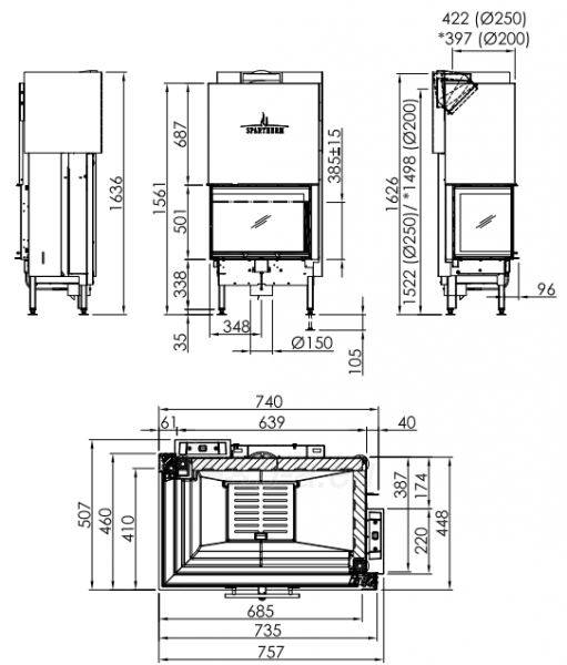 Plieninis židinio ugniakuras Spartherm Varia 2R-68h-4S, tiesiu kampiniu (dešinės p.) stiklu Paveikslėlis 2 iš 2 310820254562