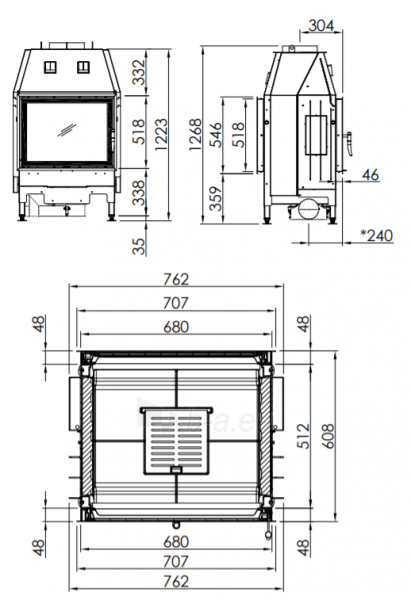 Plieninis židinio ugniakuras Spartherm Varia FD-51-4S, dviem fasadais ir tiesiu stiklu Paveikslėlis 2 iš 2 310820254556
