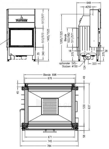 Plieninis židinio ugniakuras Spartherm Varia FD51,3h-4S, dviem fasadais ir tiesiu stiklu Paveikslėlis 2 iš 2 310820254445
