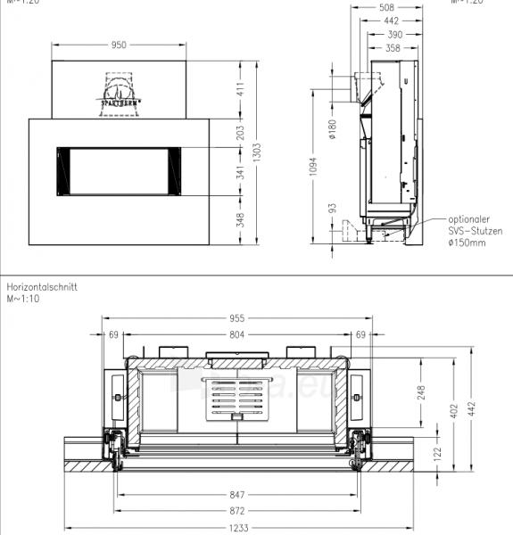 Plieninis židinys Spartherm Premium V-ASh S su betono imitacija Paveikslėlis 2 iš 4 310820165824