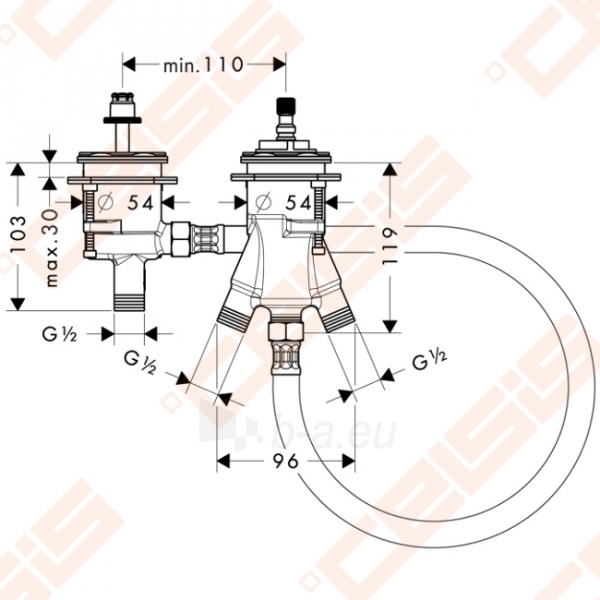 Potinkinė dalis termostatinio vonios maišytuvo HANSGROHE PuraVida (dvi dalys) Paveikslėlis 2 iš 2 270790200212
