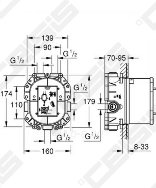 Potinkinė dėžutė GROHE Rapido T termostatiniams maišytuvams Paveikslėlis 2 iš 2 270790200216