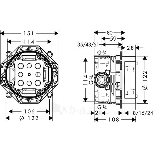 Potinkinė dėžutė Hansgrohe Ibox universal Paveikslėlis 1 iš 2 270790200194