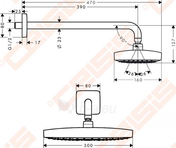 Potinkinė dušo galva HANSGROHE Raindance Select E300 2jet su alkūne 390 mm Paveikslėlis 2 iš 4 270790200223