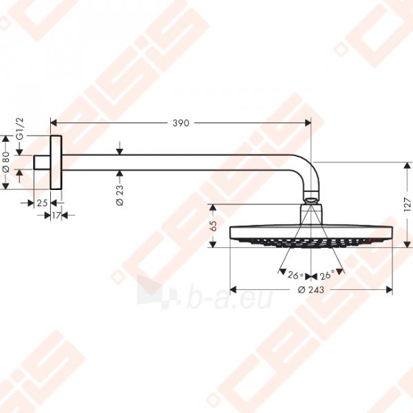 Potinkinė dušo galva HANSGROHE Raindance Select S240 2jet su alkūne 390 mm Paveikslėlis 2 iš 6 270790200226