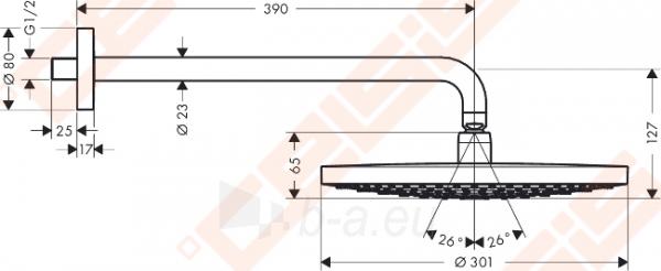 Potinkinė dušo galva HANSGROHE Raindance Select S300 2jet su alkūne 390 mm Paveikslėlis 2 iš 6 270790200228