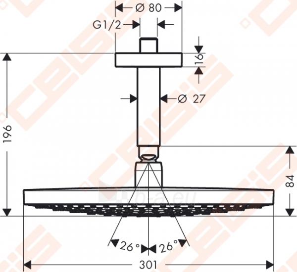 Potinkinė dušo galva HANSGROHE Raindance Select S300 2jet su vamzdeliu 100 mm Paveikslėlis 2 iš 3 270790200229