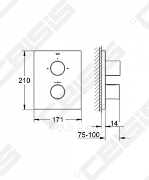 Potinkinio termostatinio vonios/dušo maišytuvo dekoratyvinė dalis GROHE Grohtherm F Paveikslėlis 2 iš 2 270790200246