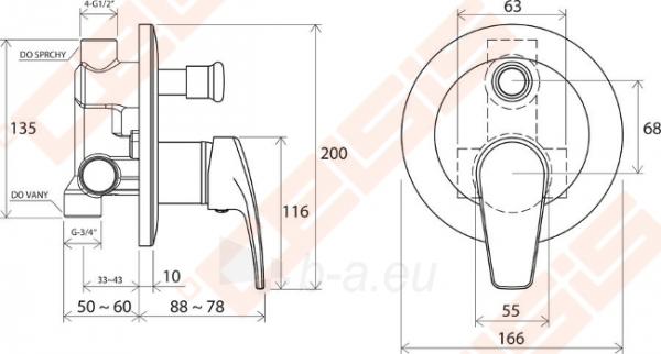 Potinkinio vonios/dušo maišytuvo dekoratyvinė dalis RAVAK Neo NO 061.00 Paveikslėlis 3 iš 3 270790200251