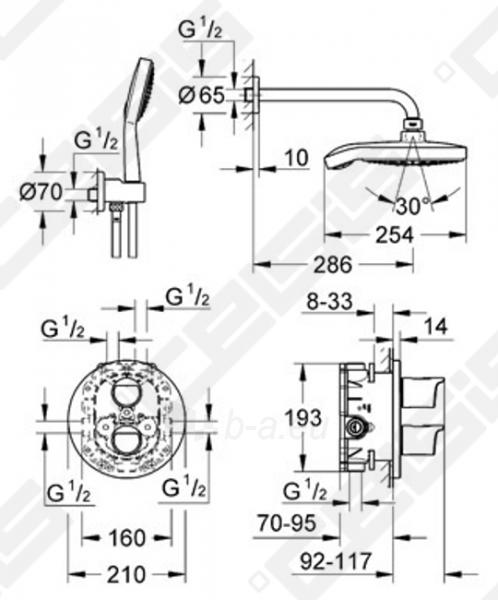 Potinkinis dušo komplektas GROHE Grohtherm 2000 NEW su termostatainiu dušo maišytuvu Paveikslėlis 2 iš 2 270790200253